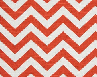 Tangelo and White Chevron ZigZag Slub Premier Prints Fabric - One Yard -  Orange and White Chevron Home Dec Fabric