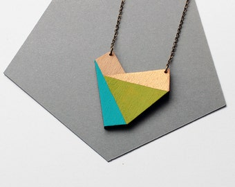 Geometric heart shape wooden nekclace - turquoise blue, lime green, gold, natural wood - minimalist, modern jewelry