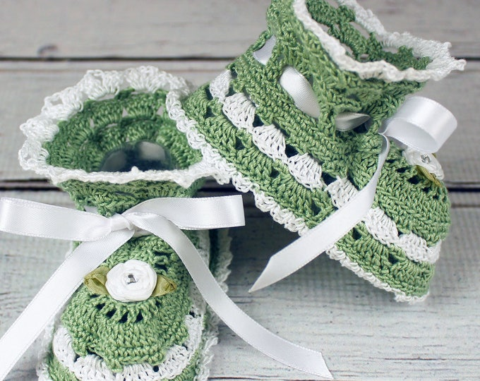 Featured listing image: Crocheted Sage Green White Baby Booties - 3-6 mos.