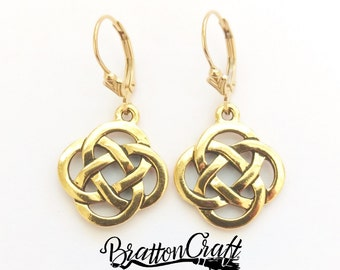 Gold Celtic Knot Earrings - Celtic Earrings - Irish Earrings - Scottish Earrings - Gold Celtic Jewelry