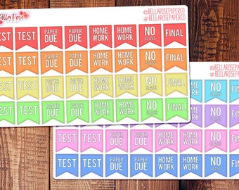 College Student Planner Stickers, Banner Stickers, for use in Erin Condren Planners, Happy Planner Stickers