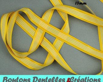 Satin Ribbon and gingham - 15mm - 5 m - (yellow, 15-01)