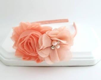 Peach Chiffon Flower Headband, Flower Girl Headband, Satin Lined Headband, Peach Headband, Fancy Headband, Easter Headband, Women's Headband