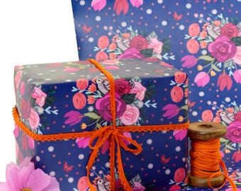 Gift Wrap 2 pack- Gift Wrapping Paper -Little Sparrow & Roses - British Garden Birds - Wrapping Paper - Birthday Wrap - Mother's Day Wrap