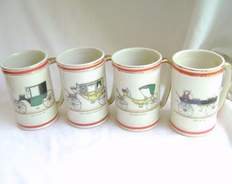 Vintage Hyalyn Steins, Coach Stein, Hyalyn Mugs, Old Fashioned Carriage, Ivory, Man Cave, Set of Four, Mid Century, Coffee Mugs, Beer Steins