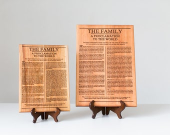 The Family Proclamation 11x15 Engraved on Wood, LDS art, Mormon sign-LDS Home Decor-Eternal Family