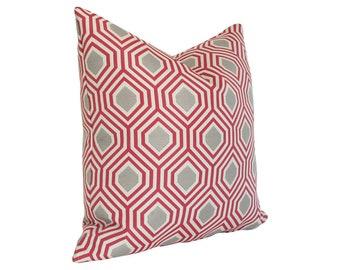 Hexagon Red Designer Pillow Cover - Custom Made-to-Order