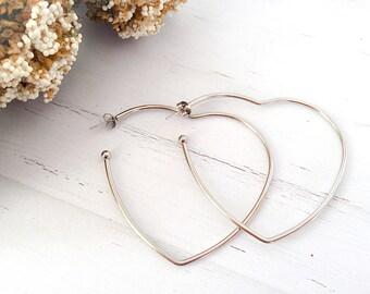 Heart earrings in stainless steel