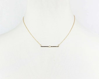 Minimalist Bar Pendant Necklace with Cubic Zirconia / Thin Bar Necklace / Tiny CZ Bar Necklace