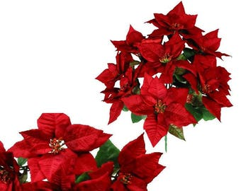 """9-Red Poinsettia 21"""" Bush Home Office Christmas Holiday Decoration"""