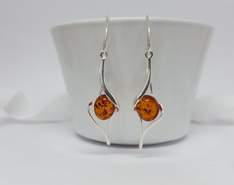 Long Dangle Earrings Natural Baltic Amber Earrings Hanging Earrings Modern Earrings Amber Drop Earrings Elegant Jewelry Gift For her