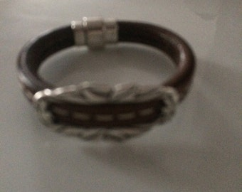 Brown Leather Center Stitched Magnetic Closure Bracelet With Slide 7""