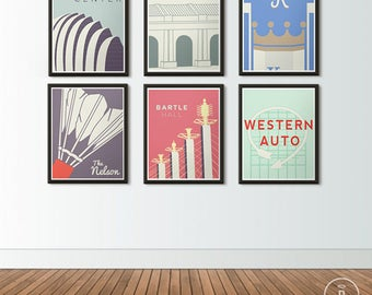 Kansas City Icons Series Posters - KC Skyline - Nelson Atkins, Union Station, Kauffman Stadium, Kauffman Center, Western Auto, Bartle Hall