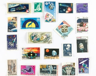 20 x Space Theme used postage stamps from 15 countries - Spaceship - Stars - Satellites - Moon - Futuristic - for stamp collecting, crafts