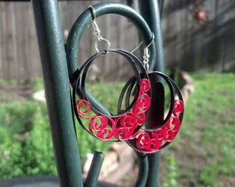 Paper Quilled Red Hoop Earrings- paper quilled jewelry, paper quilling earrings, red earrings, large earrings, hoop earrings, paper earrings