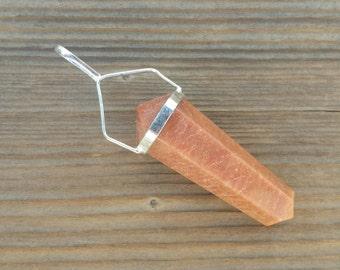 Natural RED AVENTURINE Crystal D - Point Pendant Gemstone