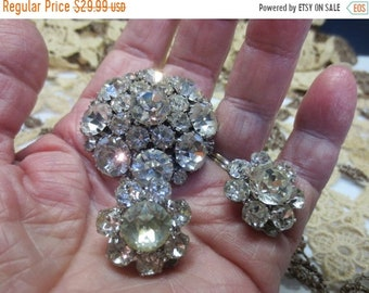 Whole Shop on Sale Weiss Rhinestone Earrings With Brooch Pin, Silver Tone Clip On