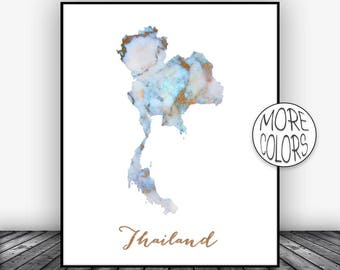 Thailand Print Thailand Art Print Watercolor Map Thailand Map Decor Wall Art Prints Marble Wall Art  ArtPrintsZoe