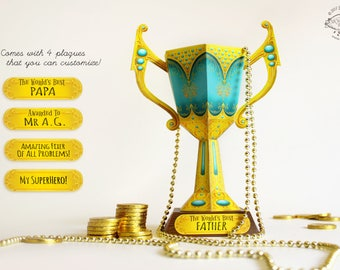 Father's Day Gift | Printable DIY Trophy Cup Papercraft | Friend Father Teacher Award Prize Surprise | Blue & Gold Design | pdf template