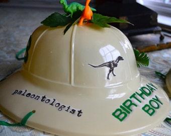 Birthday Boy Girl Personalized Paleontologist Pith Dinosaur Helmet 2 Standard Dinosaurs Foliage Gems Jurassic Park Birthday Number