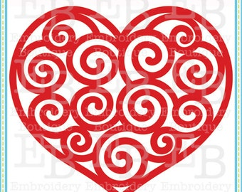 Swirly Heart SVG - This design is to be used on an electronic cutting machine. Instant Download