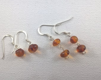 Amber Earrings, Sterling Silver and Amber earrings, Genuine Amber earrings, Amber drop earrings, Balic Amber earrings