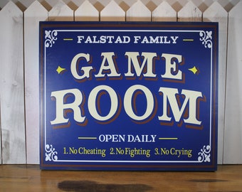 Game Room Sign/Personalized/Man Cave/Christmas Gift/YOU choose Colors/Game Room/Wood Sign/Large Sign/Wood Sign/No Cheating/Cryin