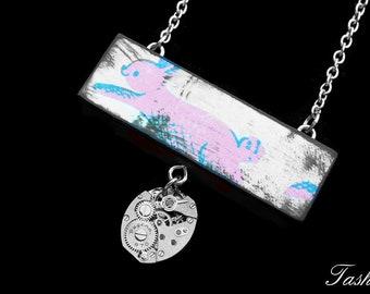 Steampunk Wooden Bunny Rabbit Necklace, Long Silver Watch Movement Pendant, Vintage Boho Jewelry