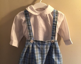 24 month, Vintage Classic Baby Clothes, Adorable Blue and White Plaid Short Set with Cross Straps (shirt not included)