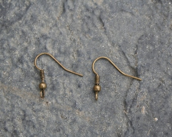 French hooks for pierced ears, bronze