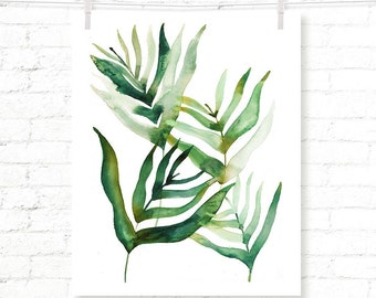 Tropical Leaves - Palms - Palm Leaves - Watercolor - Art Print