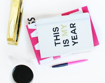 This is My Year / white journal - metallic gold - Girlboss - boss lady - entrepreneur - hustle motivational - building my empire - notebook