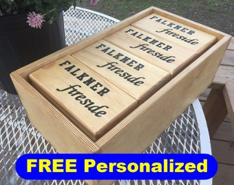 PERSONALIZED Yard Dominoes. Engraved Family Name or Event on back of dominoes and storage box. Play Outdoor and Indoor. Classic Fun Game.