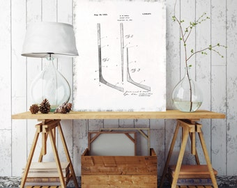 Hockey Stick Blueprint, Hockey Stick Patent Print, Sport Patent Print, Printed on Canvas, Vintage Wall Decor, Vintage Wall Decor