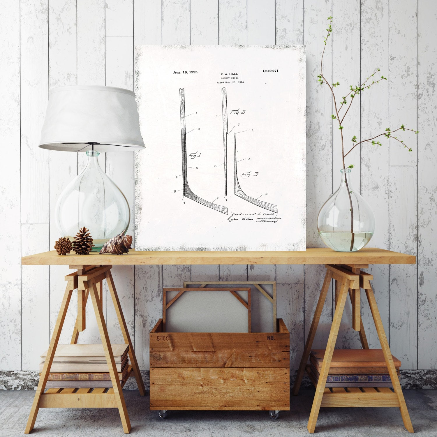 Hockey stick blueprint hockey stick patent print sport patent hockey stick blueprint hockey stick patent print sport patent print printed on canvas vintage wall decor vintage wall decor malvernweather Image collections