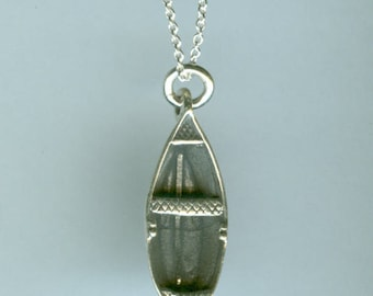 Sterling Silver ROW BOAT Pendant and Chain - 3D - Sports, Boating - Perfect for Him or Her