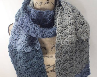 Crochet Scarf -Knit Cowl- Scarf Women Crochet- Spring Accessories - Blue Scarf - Extra Long Knit Scarf - Ready to Ship - Infinity Scarf