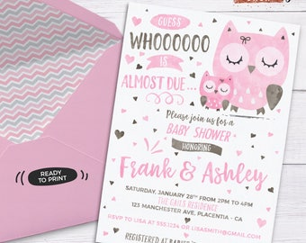Owl Baby Shower Invitation Pink Owl Baby Shower Invitation Printable  Couples Co Ed Baby Shower