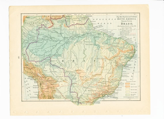 1930s brazil map print amazon river eastern south america map 1930s brazil map print amazon river eastern south america map elevation map railroad development map vintage 1931 original old book plate gumiabroncs Gallery