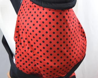 Mei Tai Baby Carrier , Bei-dai, Meh-dai / Sling / Reversible / Polka Dots Red and Black / Cotton / Handmade / Made in UK