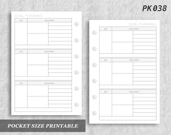 Pocket Size Printable Goal Planning Goals Digital Download PK038