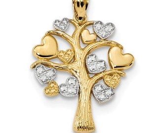 Beautiful Solid 14 Karat Yellow & White Gold Tree of Life w/Hearts Pendant