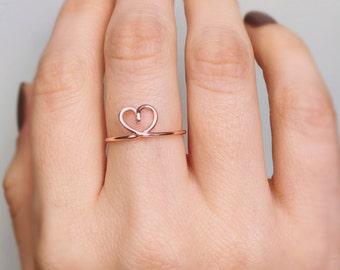 Rose Gold Heart Ring, Love ring, Heart ring, Rose gold ring, Wire ring, Stackable ring, Gold ring, Bridesmaids ring, Adjustable ring, Gift