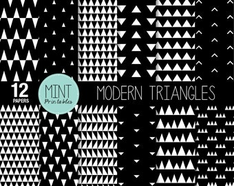 Black and White Geometric Triangles Scrapbooking Paper, Backgrounds, Modern Monochrome, Patterned, Printable Sheets - BUY 2 GET 1 FREE!