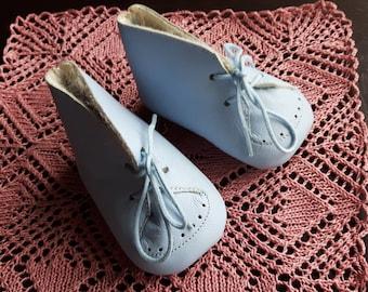 Vintage leather blue baby shoe slippers  size EU 16 / US 1 / UK 0