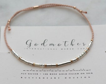 Godmother Gift • God Mother Bracelet | Morse Code Bracelet | Tan Silver and Rose Gold String Auntie Bracelet | Morse Code Aunt