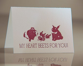 My Heart Beets For You Card - Guinea Pig and Bunny Rabbit Card - Purple Valentine Card - Romantic Animal Card - Beets Letterpress Card