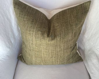 Green Silk Tweed Pillow Cover