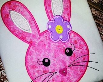 Personalized Pink Bunny with a Purple Polka Dot Flower