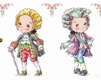 Rococo Gentlemen - SO-G106 - Cross Stitch Pattern Leaflet SODA Stitch - Modern Cross Stitch Chart - Vintage Gentlemen